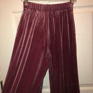 Uniqlo Velvet Pink Wide Leg Pants